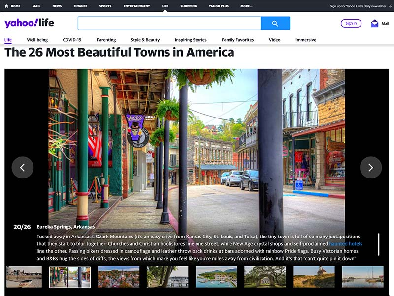 Eureka Springs is one of the 26 Most Beautiful Towns in America