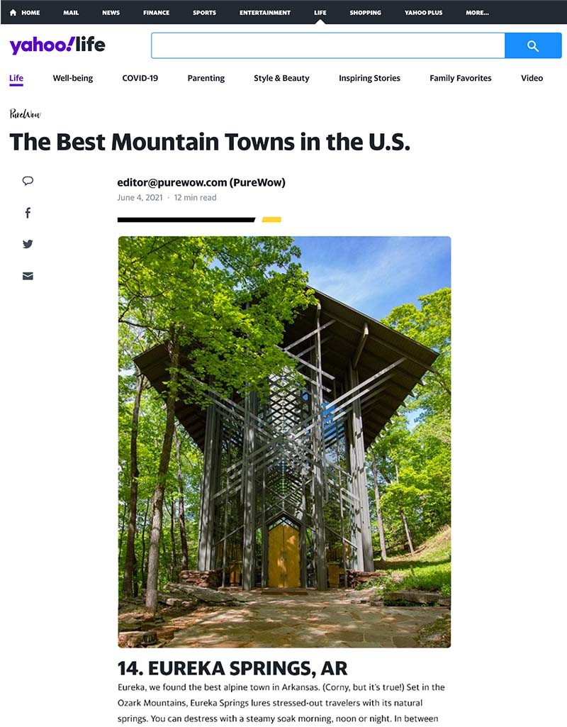 Eureka Springs is one of the Best Mountain Towns in the U.S.